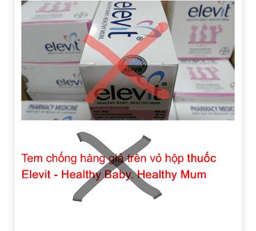 Hộp thuốc Elevit không có tem