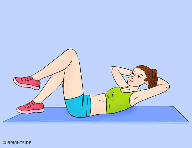 gập bụng đạp xe giúp giảm mỡ bụng sau sinh